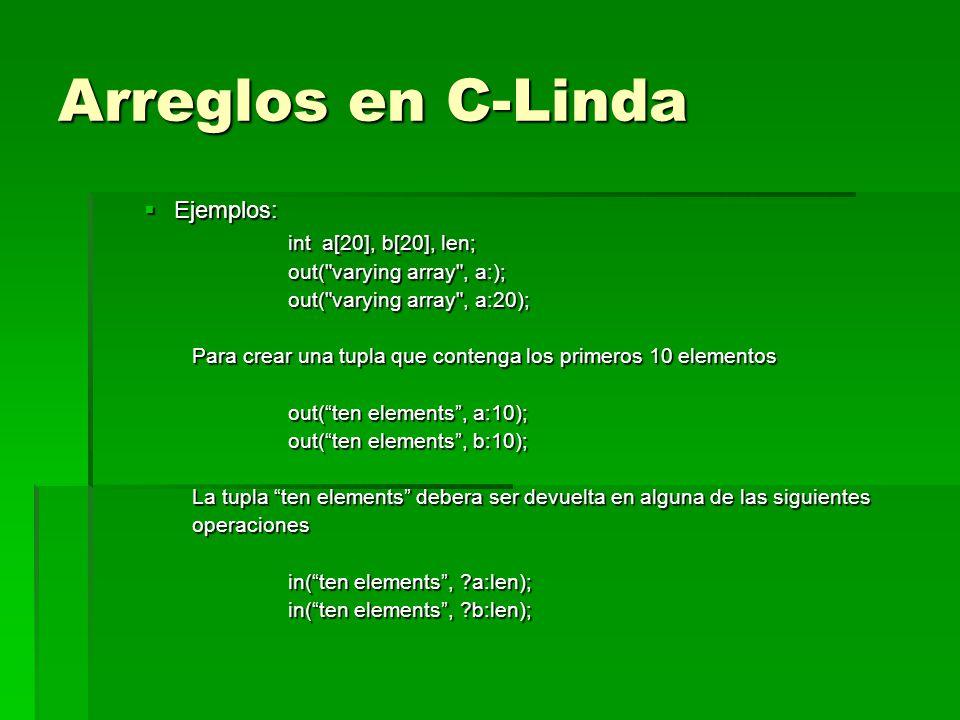 Arreglos en C-Linda Ejemplos: int a[20], b[20], len;